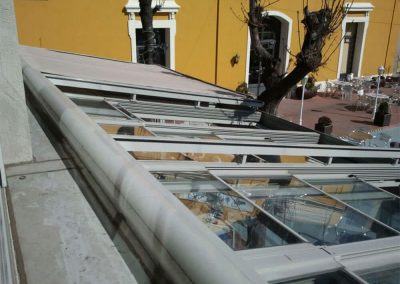 toldo veranda aluminio gris